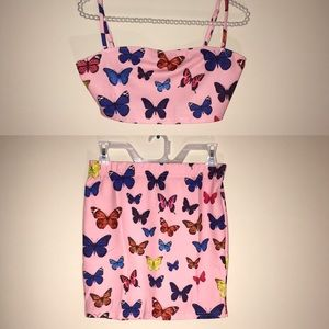 Butterfly Print Pink Crop Cami & Skirt Set